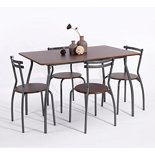 ehomeproducts 5pc dining dinette 4 person table and chairs set metal frame dining kitchen. Black Bedroom Furniture Sets. Home Design Ideas