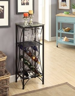 Black Metal Finish and Marble Look Top with 15 Bottle Holder Wine Organizer Rack with Shelf Kitc ...