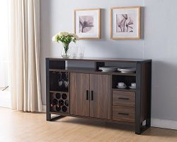 161640 Smart Home Dark Walnut & Black Wine Rack Sideboard Buffet Table