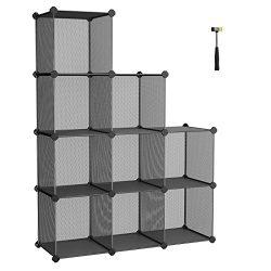 SONGMICS Storage Cubes, High-density Metal Grid, Interlocking Shelving Organizer Unit with High  ...