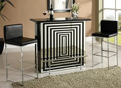 Zak collection black high gloss and mirror finish front bar table with glass top and chrome acce ...