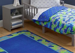 Delta Children Soft Kids Area Rug (2.5 foot x 4 foot) Boys Blue and Green | Camo