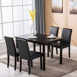 Mecor 5 Piece Dining Table Set Wood Table/4 Leather Chairs Kitchen Room Breakfast Furniture (Black)