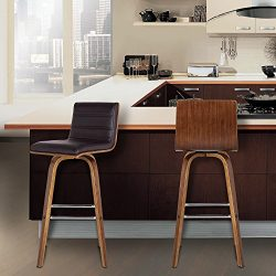 Armen Living LCVIBABRWA30 Vienna 30″ Bar Height Barstool in Brown Faux Leather and Walnut  ...