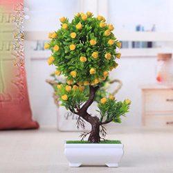 Situmi Artificial Fake Flowers PlasticGreen PlantsBonsaiTreeDesktopdecor,Yellow1528cm