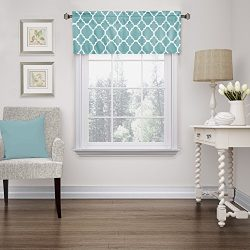 Flamingo P Moroccan Teal Valance Curtain Extra Wide and Short Window Treatment for for Kitchen L ...