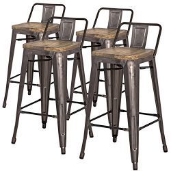 New Pacific Direct Metropolis Metal Low Back Counter Stool 26″ Wood Seat,Gunmetal Gray,Set ...