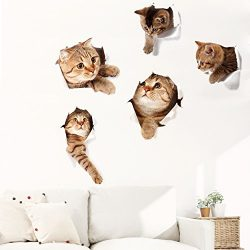 Originalidad 3D Removable Cats Large Wall Stickers Decals | Cute Animal Wall Sticker mural for K ...