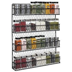 4 Tier Black Country Rustic Chicken Wire Pantry, Cabinet or Wall Mounted Spice Rack Storage Orga ...