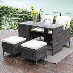 Wisteria Lane Outdoor Patio Bar Stool Set,5 Piece Dining Table Set Wooden Table Chairs Sectional ...