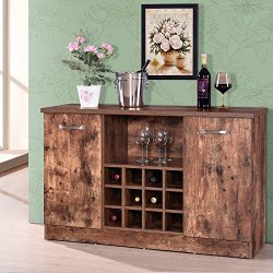 Harper&Bright Designs Buffet Server Sideboard Wine Cabinet Antique Rustic Wood Console Table ...