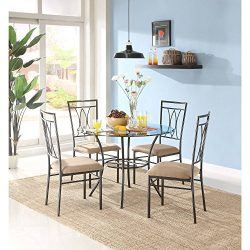 MSS 5-Piece Glass and Metal Dining Set, Includes table and 4 chairs, Solid metal tubing, Easy as ...