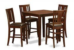 East West Furniture VNBU5-MAH-LC 5-Piece Pub Table Set