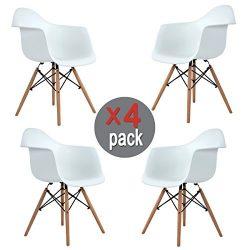 Aingoo Eiffel Kitchen Chair Molded Dining Armchair Mid Century Plastic Side Chair Dowel Wood Eif ...