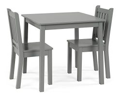 Humble Crew CL329 Wood Table and 2 Chairs Set, Grey