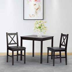 BestMassage Dining Kitchen Table Dining Set 3 Piece Wood in Door Square Small Farmhouse Dining R ...