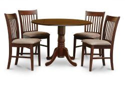 East West Furniture DLNO5-MAH-C 5-Piece Kitchen Table Set, Mahogany Finish