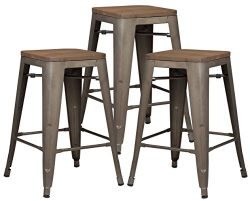 Poly and Bark Trattoria 24″ Counter Height Stool with Elmwood Seat in Bronze (Set of 3)