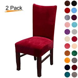 Colorxy Velvet Spandex Fabric Stretch Dining Room Chair Slipcovers Home Decor Set of 2, Wine Red