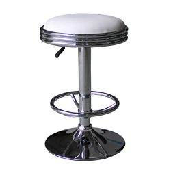 "LCH 24""-32"" Adjustable Swivel Hydraulic Lift Barstool – Extra Large Round PU Leather Backl ..."