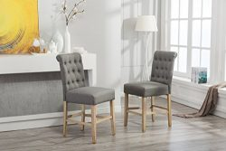 Roundhill Furniture PC561GY Siena Counter Height Button Tufted Back Solid Wood Stools, Set of 2, ...
