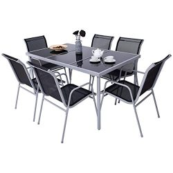 Giantex 7 Piece Patio Dining Set Outdoor Lawn Garden Living Furniture Metal Frame Tempered Glass ...