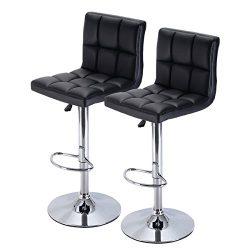 Set of 2 Bar Stool PU Leather Barstools Chair Adjustable Counter Swivel Pub New