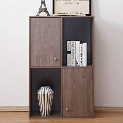Soges Wooden Storage Organizer Cabinet with Doors, Freestanding Storage Unit/Bookcase/ Bookshelf ...