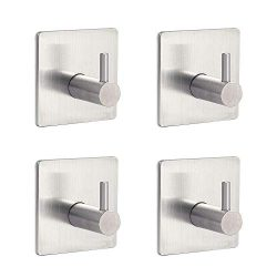 Wall Mounted Adhesive Coat Rack Hat Rack 304 Stainless Steel Heavy Duty Contemporary Hotel Style ...