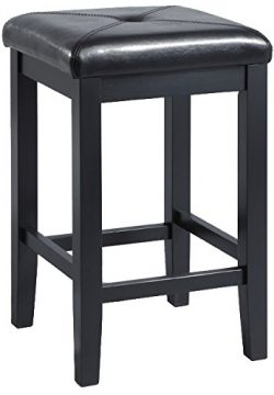 Crosley Furniture Upholstered Square Seat 24-inch Bar Stool – Black (Set of 2)