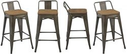 BTEXPERT 5090 Low Back Chair Industrial 24″ Rustic Metal Wood Indoor Outdoor Counter Heigh ...