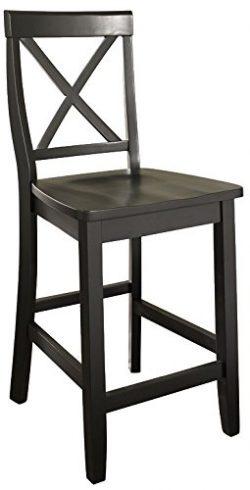 Crosley Furniture X-Back 24-inch Bar Stool – Black (Set of 2)