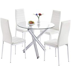 Trustiwood Modern 5 Piece Dining Table Set, Tempered Glass Top Table w/4 PU Faux Leather Chairs  ...