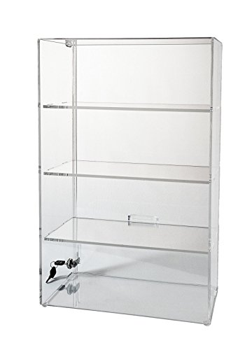 Display Case with Locking Back Door | Acrylic Case (SD213 (w/3 shelves) – 21-3/4H x 13-1/4 ...