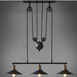 WINSOON Industrial Vintage Chandeliers Pulley 3 Light Pendant lighting Fixture for Pool Table Fa ...
