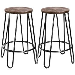 "Devoko Metal Bar Stools 24"" Indoor Outdoor Stackable Round Wood Top Backless Barstools Mod ..."
