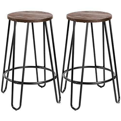 Devoko Metal Bar Stools 24 Indoor Outdoor Stackable