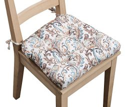 Arlee Paisley Set of Two (2) Chair Pad Seat Cushions (Red) -Memory Foam, Comfortable, Indoor, Di ...