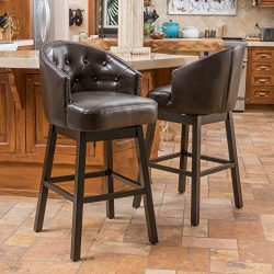 Great Deal Furniture | Westman | Faux Leather Swivel Barstool Studded Accents | in Brown