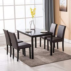 Mecor 5 Piece Dining Table Set Wood Table/4 Leather Chairs Kitchen Room Breakfast Furniture(Brown)