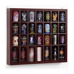Yaheetech 28 Shot Glass Display Case Glass Display Cabinet Shot Glasses Case Holder Cabinet Rack ...