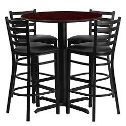 "Flash Furniture 30"" Round Mahogany Laminate Table Set with 4 Ladder Back Metal Barstools & ..."