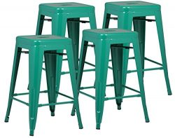 Poly and Bark Trattoria 24″ Counter Height Stool in Dark Green (Set of 4)