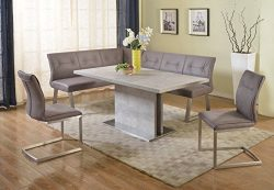 Milan KAITLYNN-2PC Kaitlynn Grey Dining Table With Nook