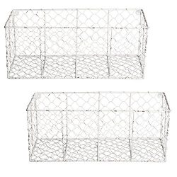 DII Z01997 Rustic Farmhouse Vintage Chicken Wire Wall Basket for Pantry, Kitchen, Office, Bathro ...