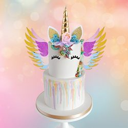 MORDUN Unicorn Cake Topper Gold Set | Reusable Glitter Unicorn Horn, Ears, Eyelashes, Flowers, W ...