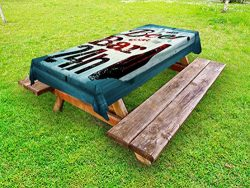 Lunarable Retro Outdoor Tablecloth, Grunge Beer Bar 24h Figure Old Pub Sign Emblem Restaurant Gr ...