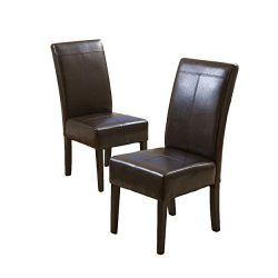 Best Selling Chocolate Brown T-Stitch Leather Dining Chair, 2-Pack