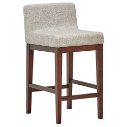 Rivet Mid-Century Low-Back Counter Stool, 33.5″H, Light Grey