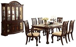 Nakken Country Cottage 8PC Bedroom Set Table, 2 Arm, 4 Side Chair, Buffet & Hutch in Warm Cherry